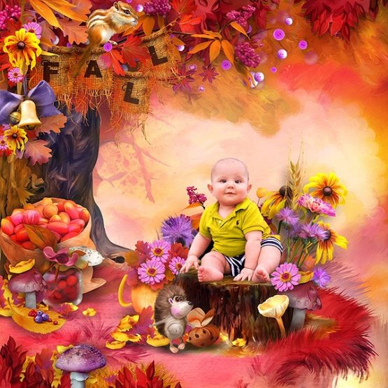 Funny Autumn Hedgehogs Layout 03