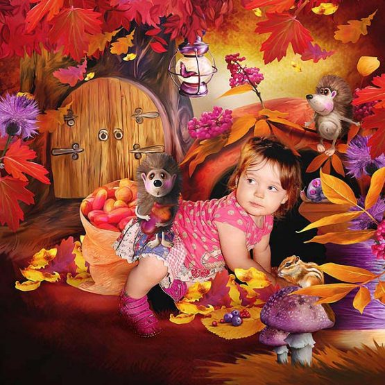 Funny Autumn Hedgehogs Layout 05